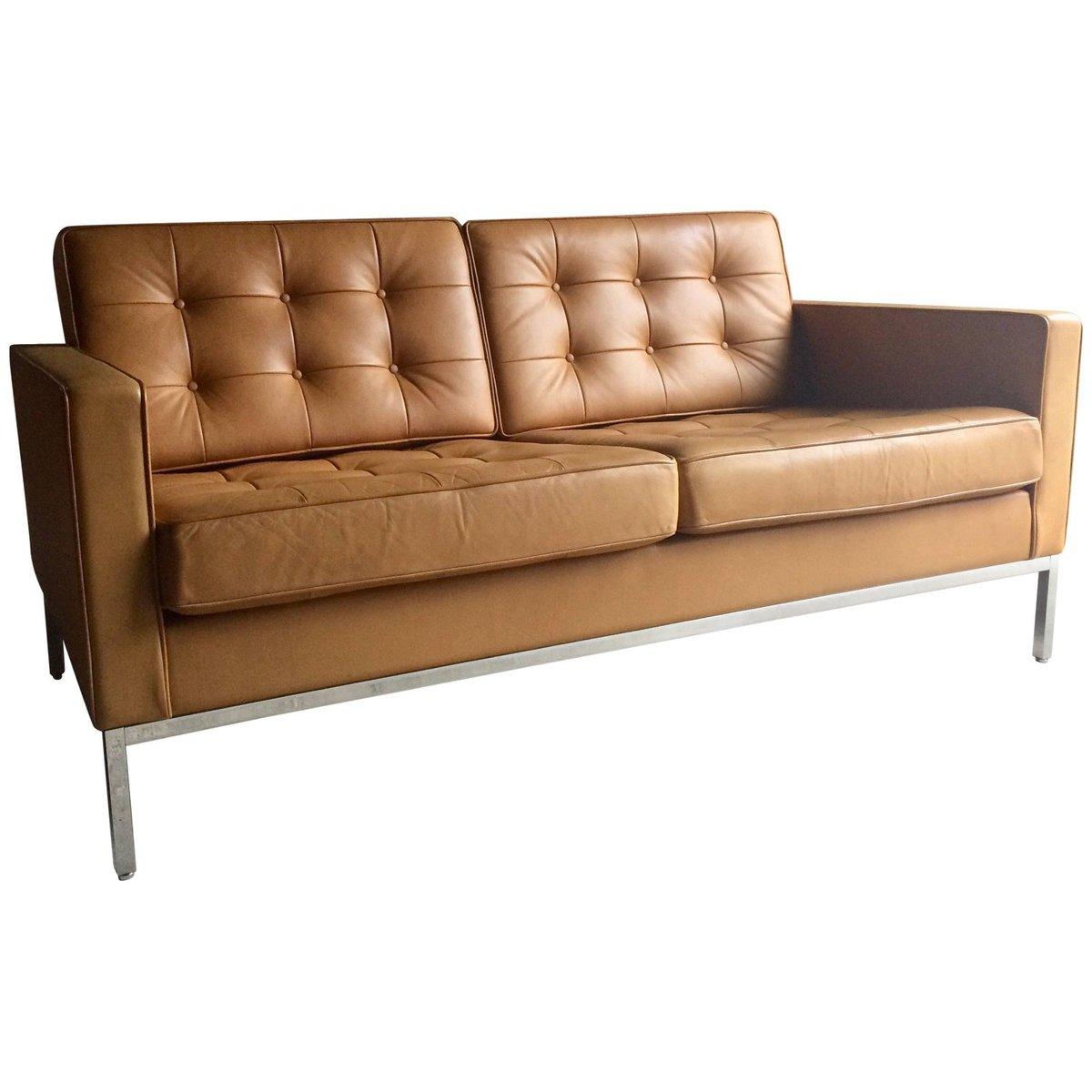 canap 2 places vintage en cuir par florence knoll pour knoll en vente sur pamono. Black Bedroom Furniture Sets. Home Design Ideas