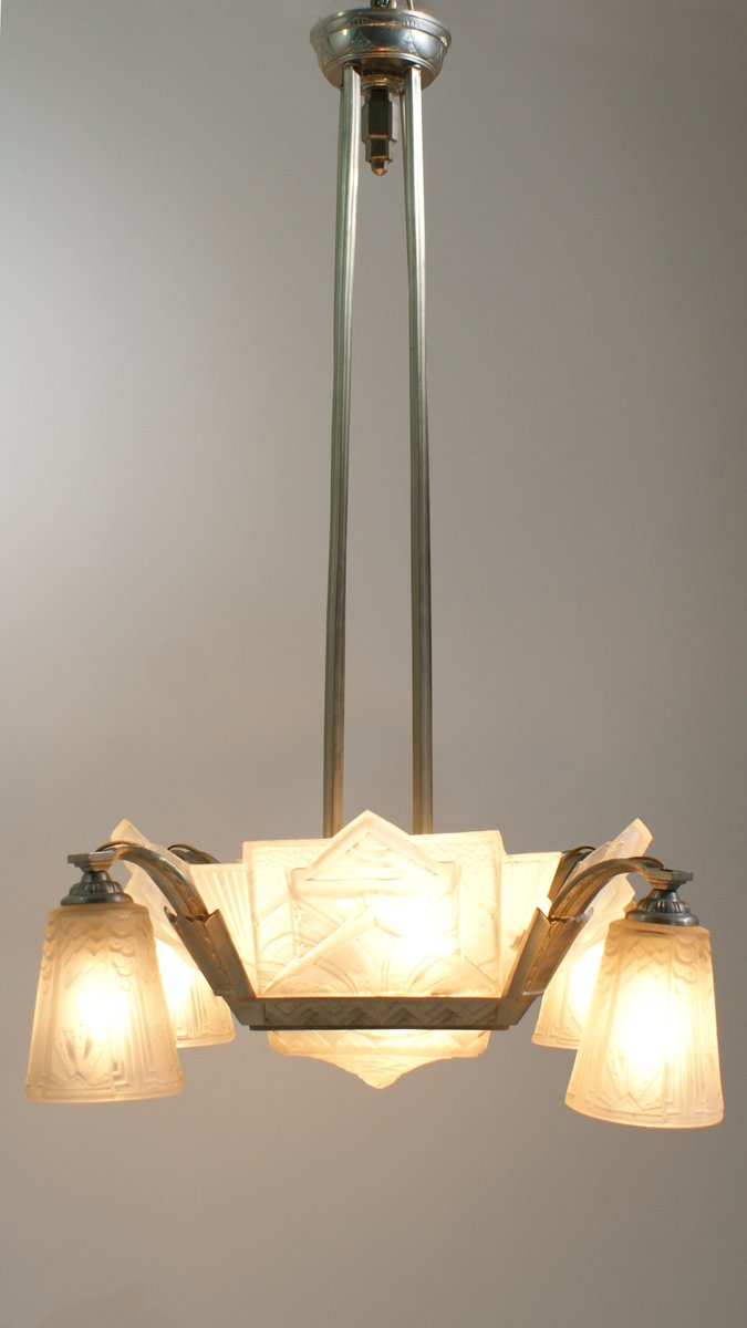 Art deco chandelier by muller frere luneville 1920s for sale at pamono art deco chandelier by muller frere luneville 1920s arubaitofo Image collections