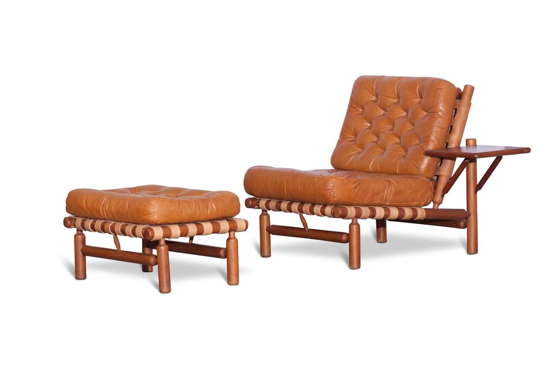 Cognac Lounge Chair With Ottoman By Ilmari Tapiovaara For Paolo Arnaboldi,  1957