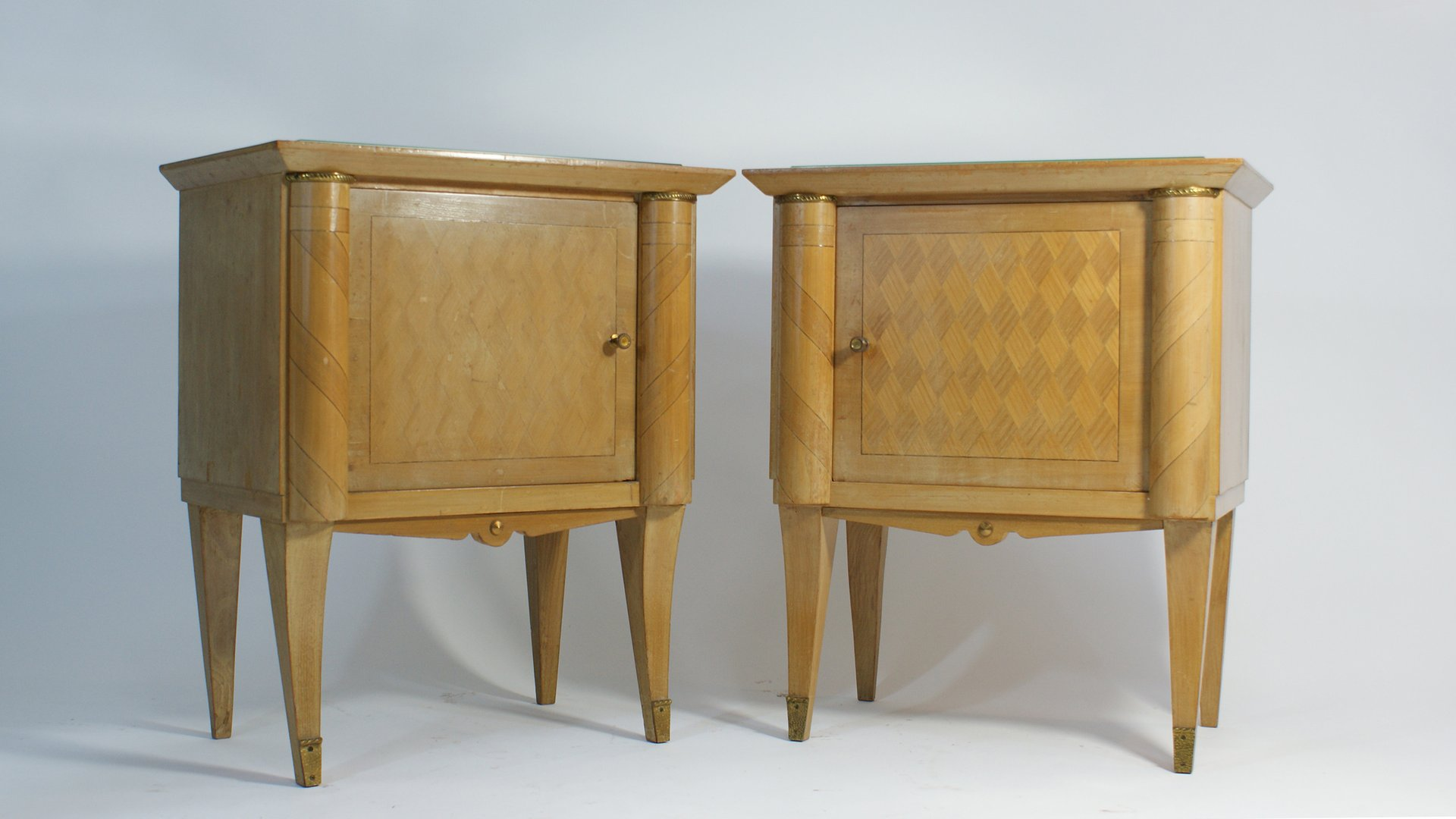 french art deco nightstands 1940s set of 2 for sale at pamono. Black Bedroom Furniture Sets. Home Design Ideas
