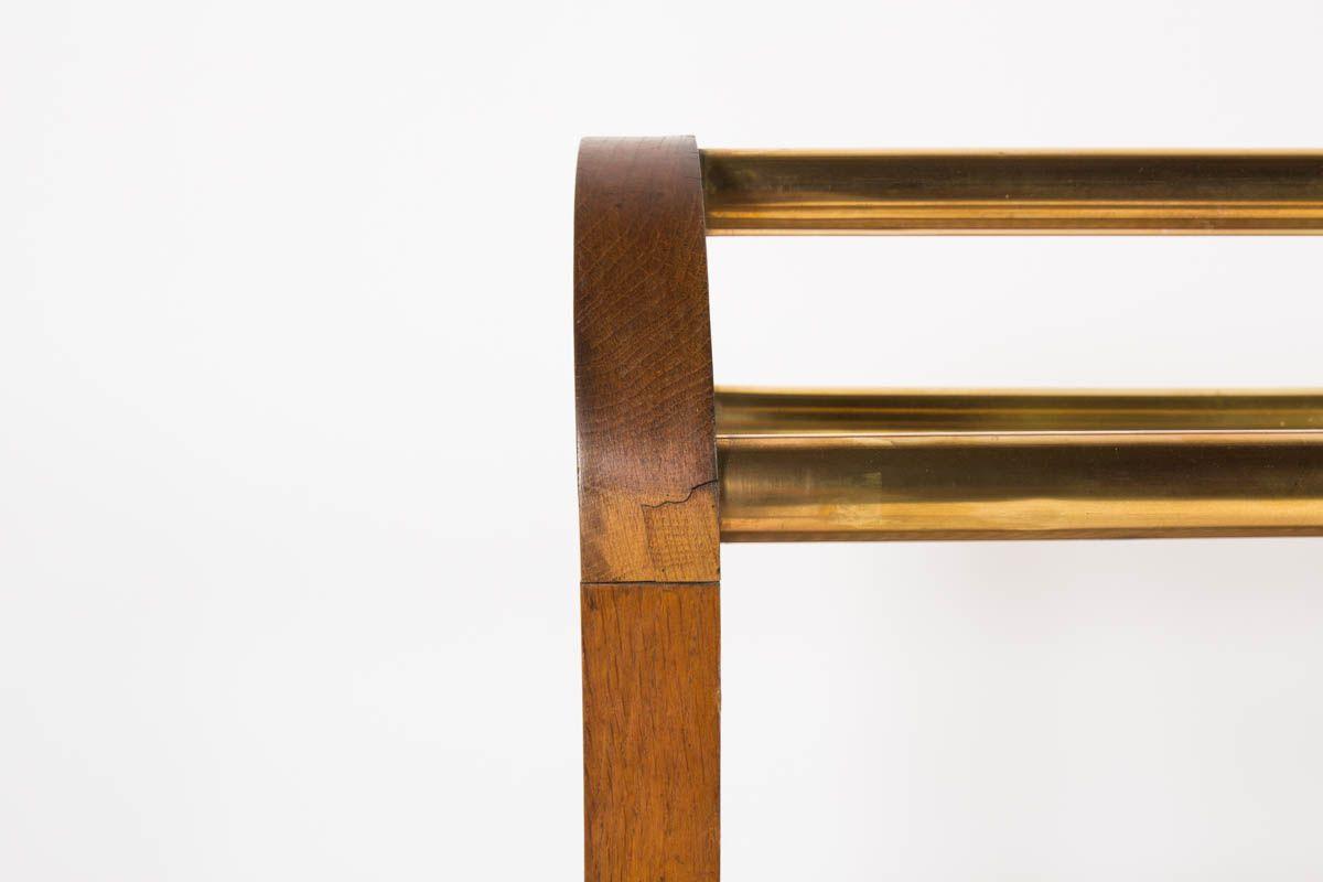konsolentisch aus eiche und messing 1950er bei pamono kaufen. Black Bedroom Furniture Sets. Home Design Ideas