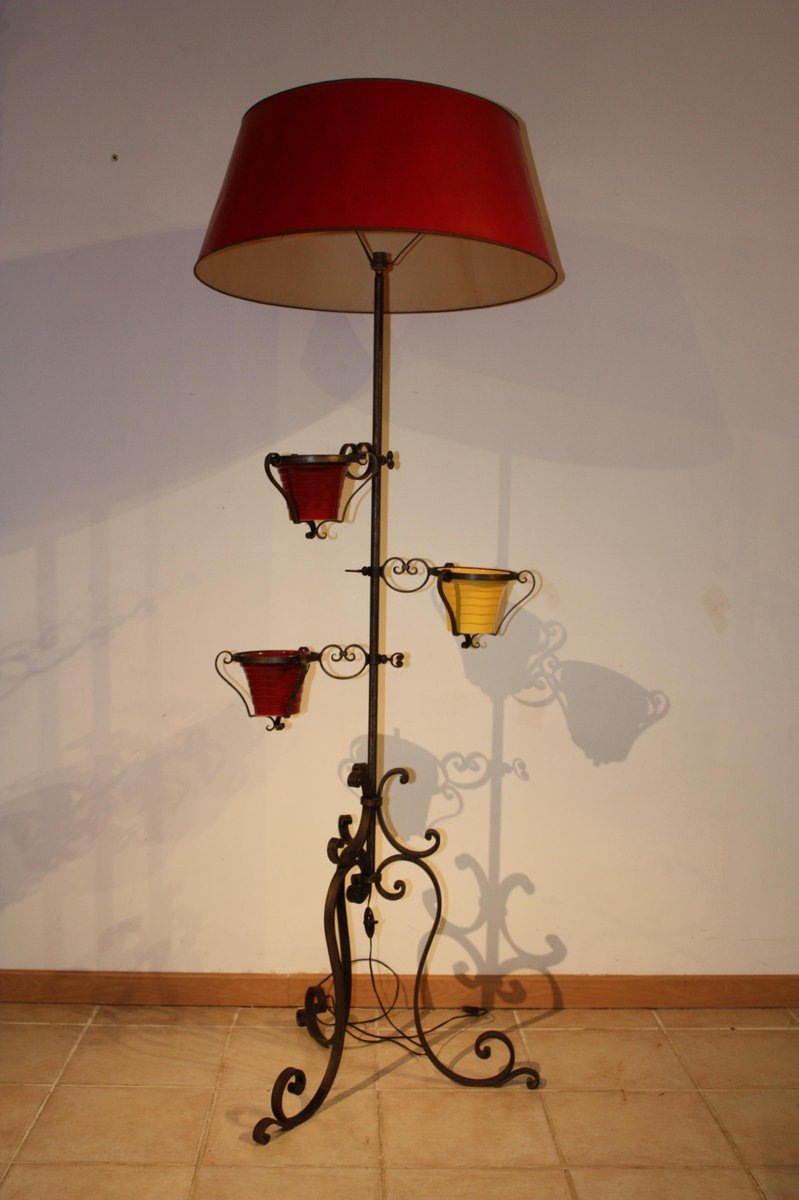 Vintage wrought iron floor lamp 1950s for sale at pamono vintage wrought iron floor lamp 1950s mozeypictures Images