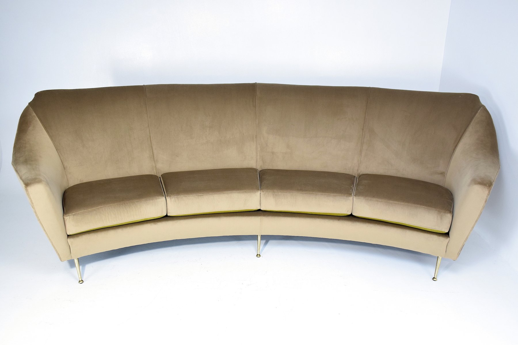mid century italian curved sofa for sale at pamono - Curved Sofas