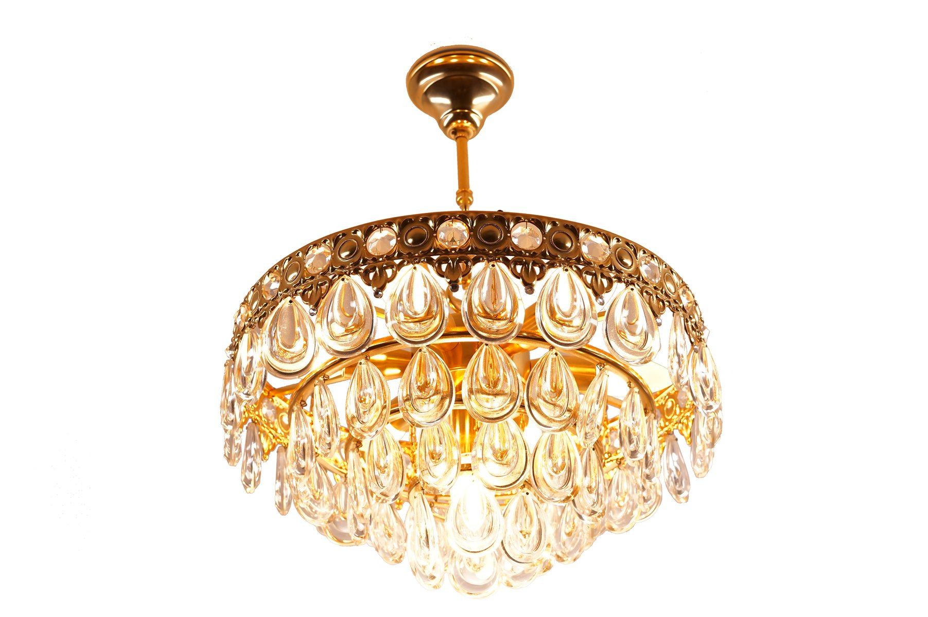 Vintage Teardrop Crystal Chandelier from Palwa for sale at Pamono