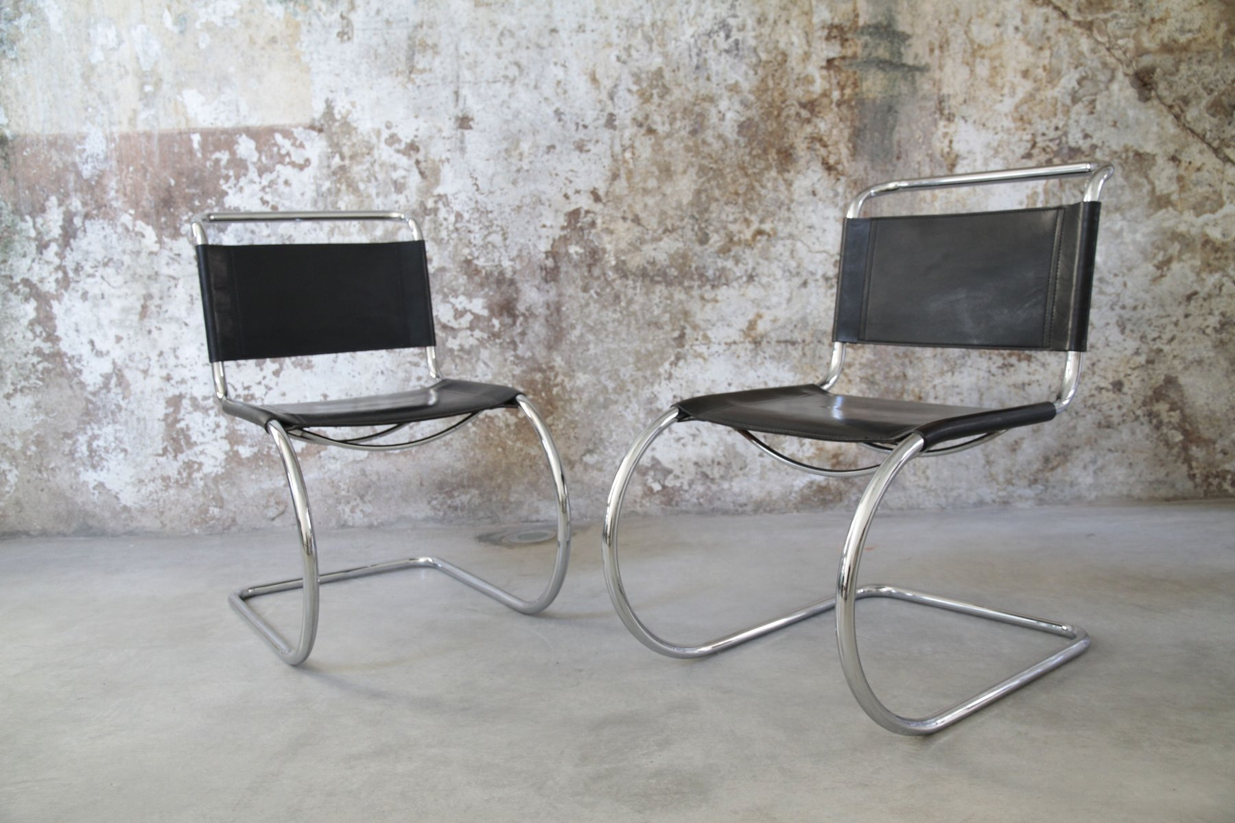 vintage mr 10 tubular chair by ludwig mies van der rohe for sale at pamono. Black Bedroom Furniture Sets. Home Design Ideas