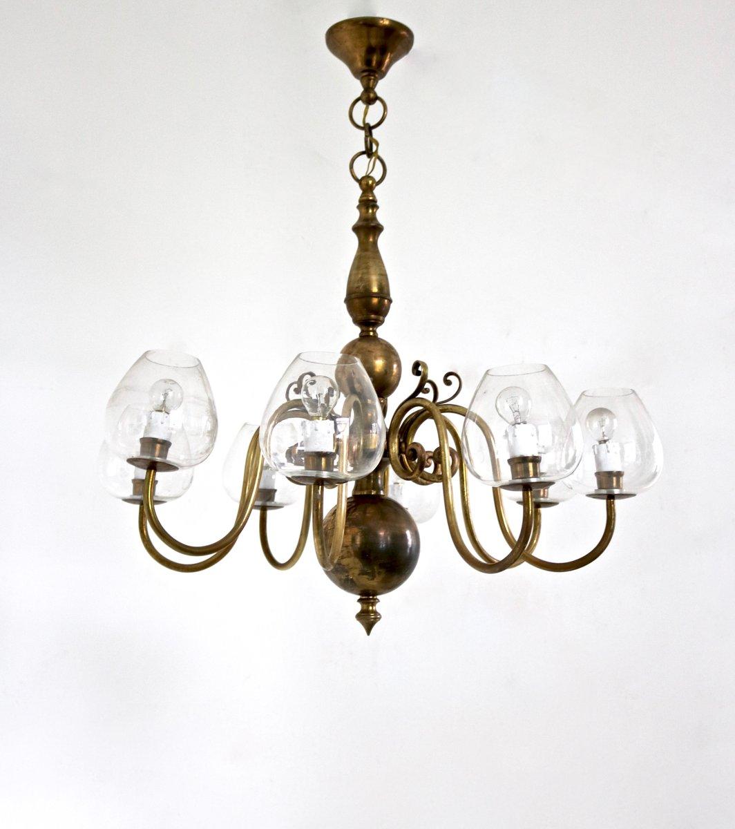 lustre en laiton et verre souffl italie 1960s en vente sur pamono. Black Bedroom Furniture Sets. Home Design Ideas