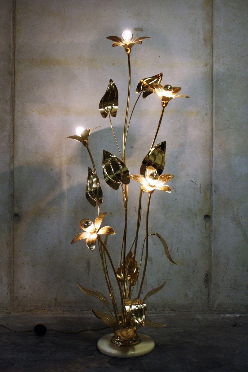 Vintage Regency Brass Flower Floor Lamp, 1970s for sale at Pamono