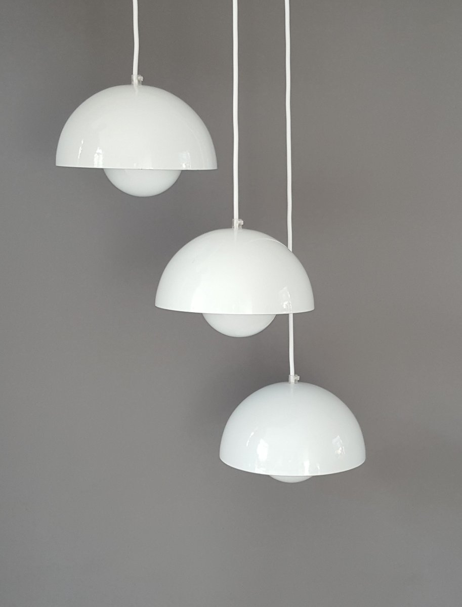 Vintage Flower Pot Pendant Lamps By Verner Panton For Louis Poulsen, Set Of  3 For Sale At Pamono