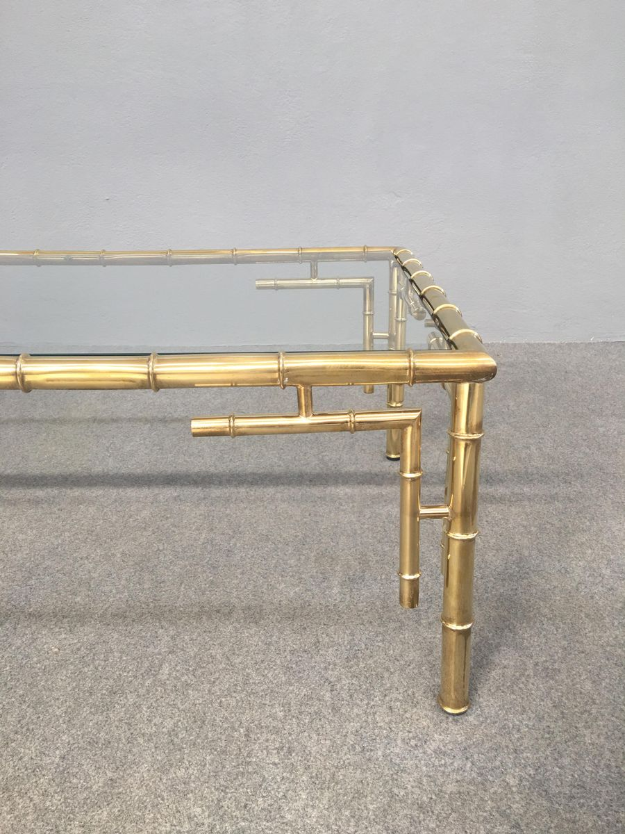 couchtisch aus messing kunstbambus 1960er bei pamono kaufen. Black Bedroom Furniture Sets. Home Design Ideas