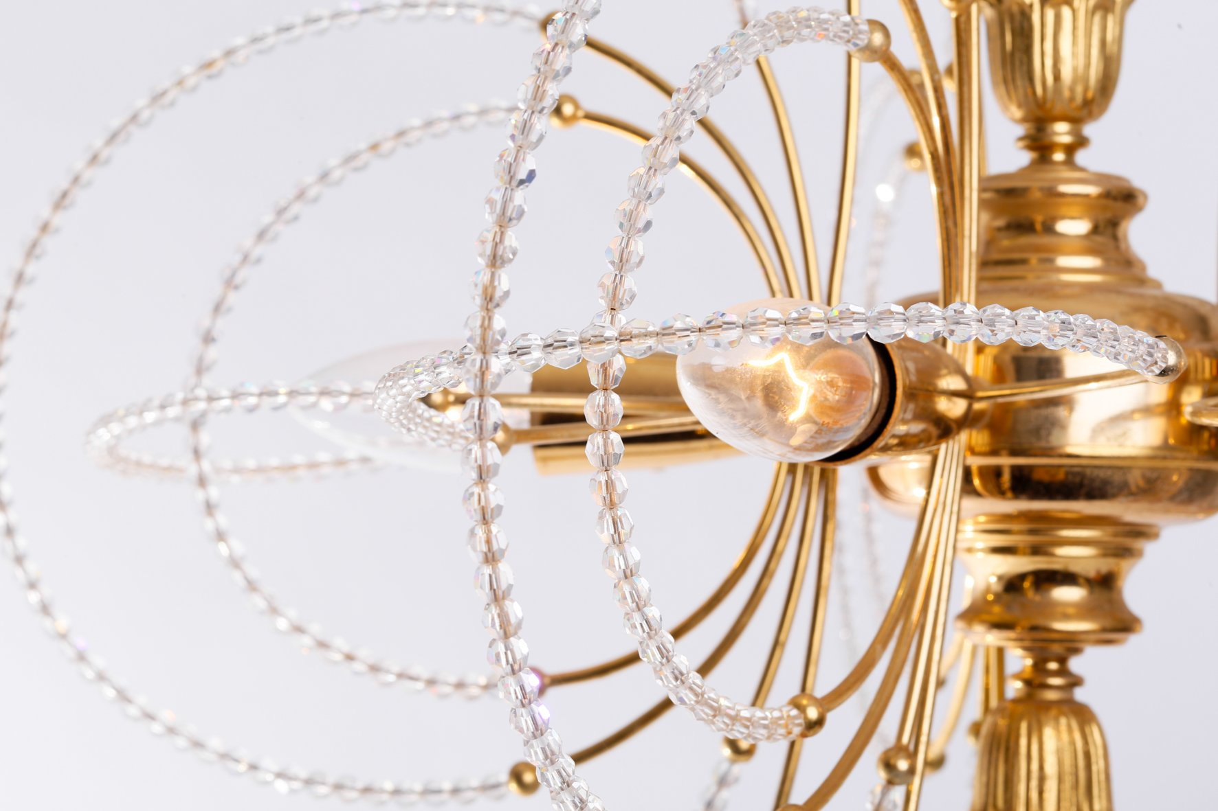 Vintage Gold Plated Glass Chandelier 1970s For Sale At Pamono