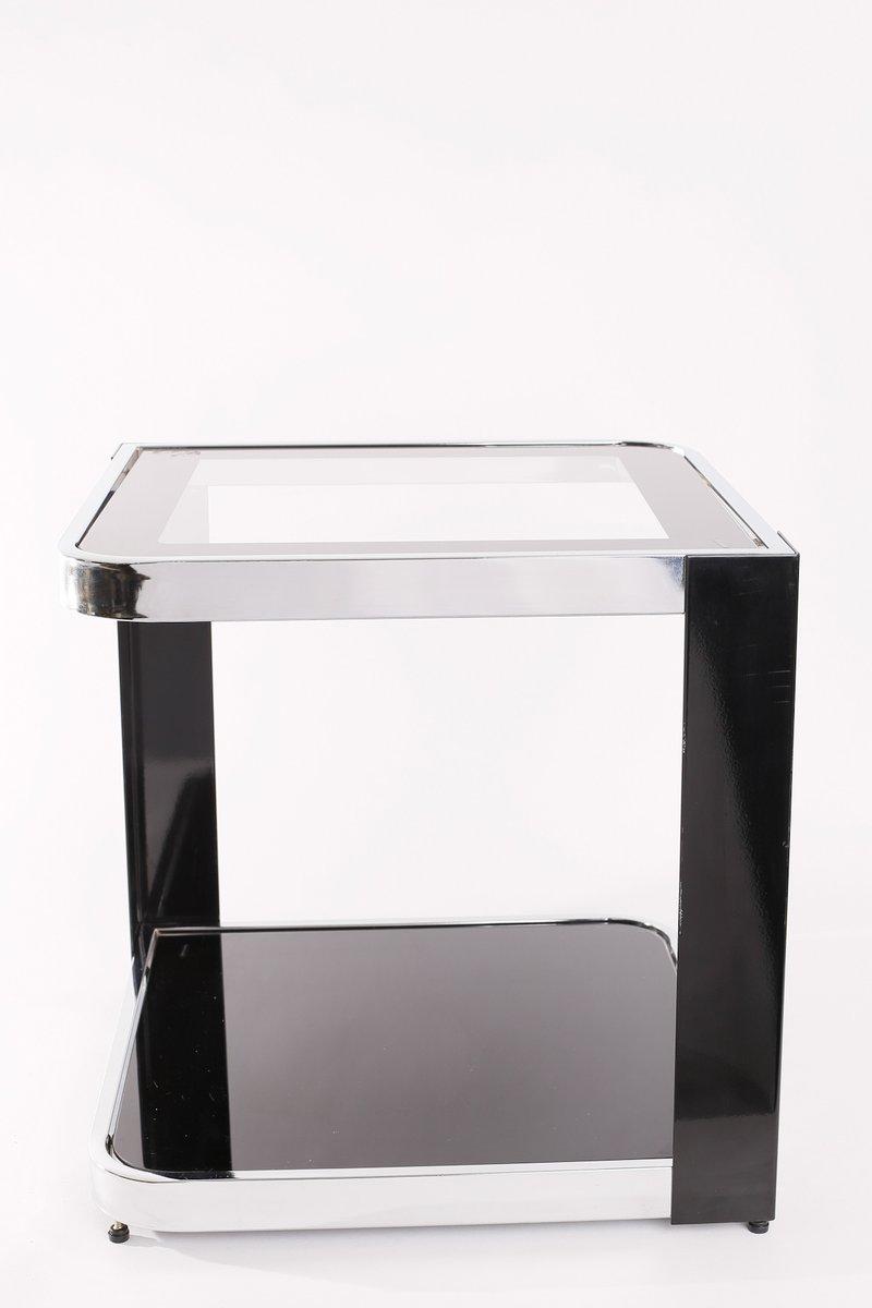 vintage beistelltisch aus hartglas verchromtem metall bei pamono kaufen. Black Bedroom Furniture Sets. Home Design Ideas