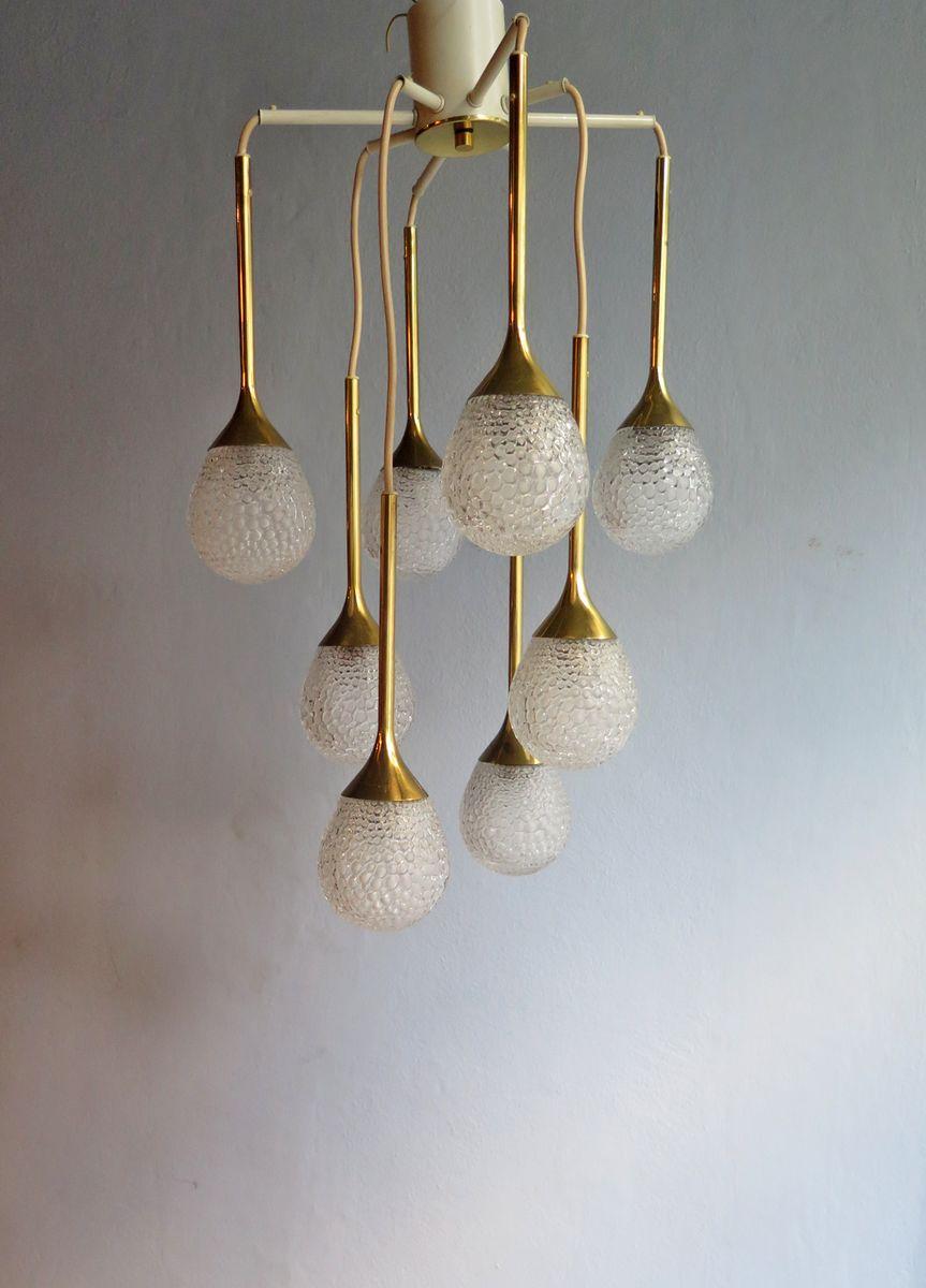 vintage h ngelampe mit 8 texturglas leuchten bei pamono kaufen. Black Bedroom Furniture Sets. Home Design Ideas