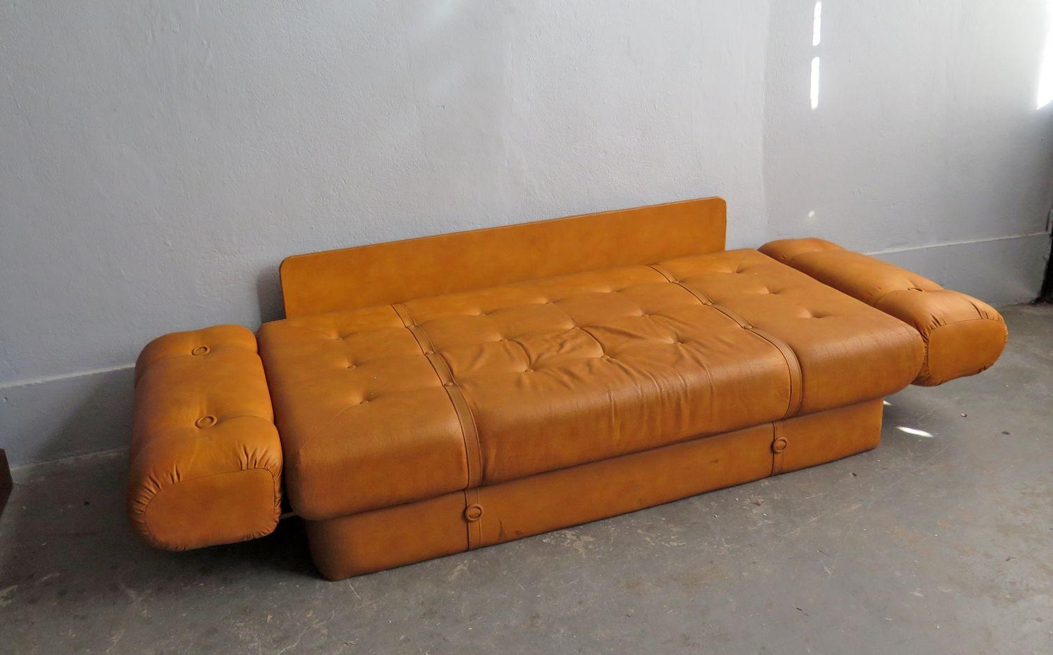 Canap lit vintage en faux cuir en vente sur pamono - Canape lit en anglais ...