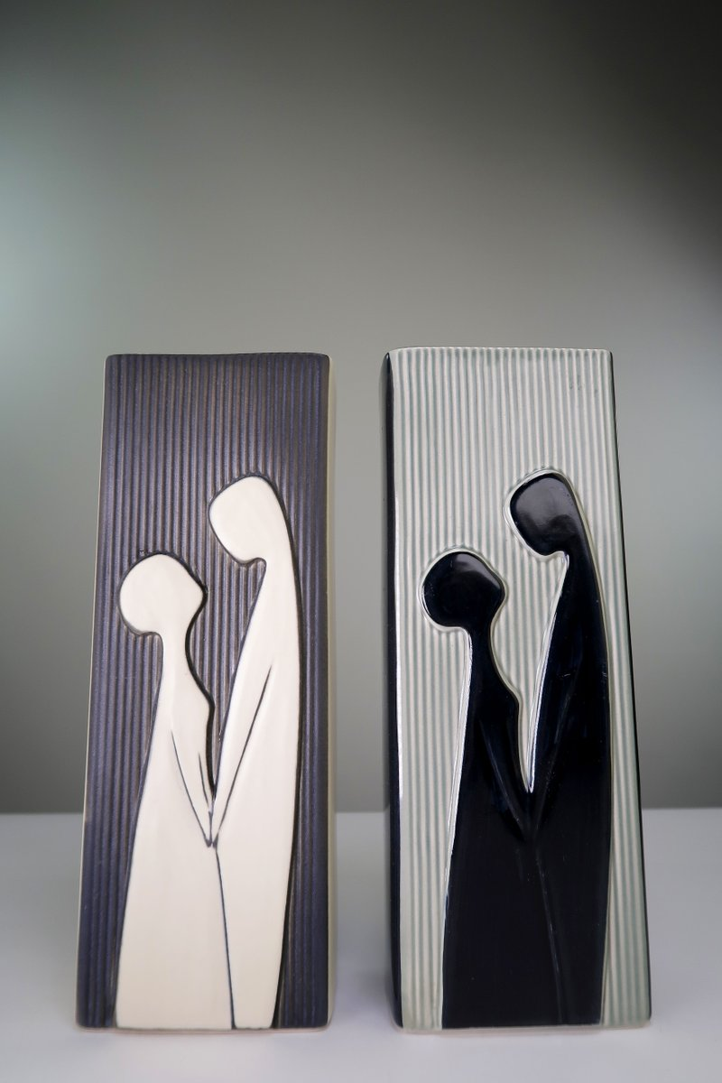 danish modern relief vasen von svend aage holm sorensen f r soholm 1958 2er set bei pamono kaufen. Black Bedroom Furniture Sets. Home Design Ideas