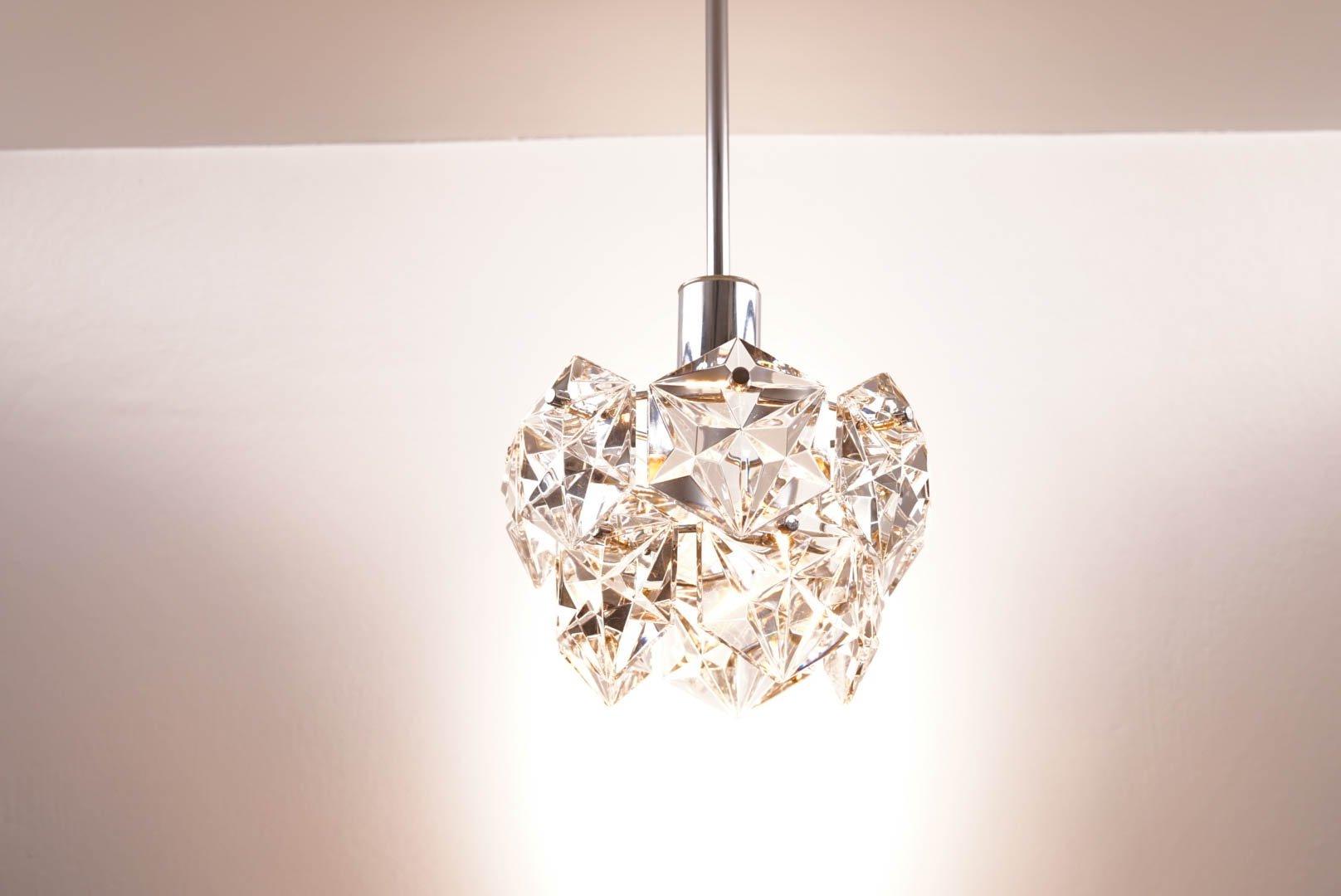 vintage deckenlampe mit sechseckigen kristallen von. Black Bedroom Furniture Sets. Home Design Ideas