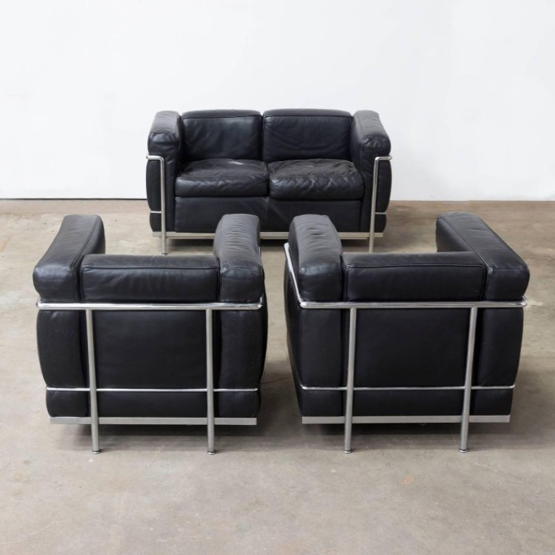 lc2 sessel von le corbusier f r cassina 1920er bei pamono kaufen. Black Bedroom Furniture Sets. Home Design Ideas