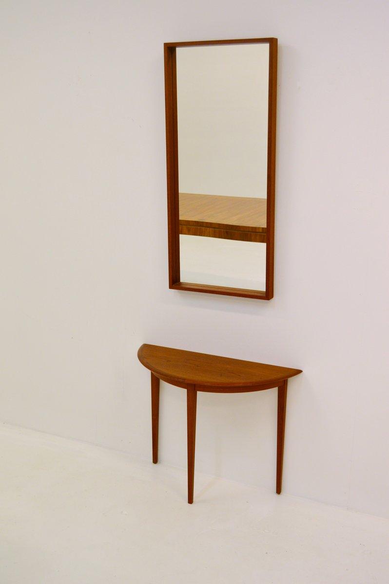 halbmond teak tisch und spiegel von glas tr 1960er bei. Black Bedroom Furniture Sets. Home Design Ideas