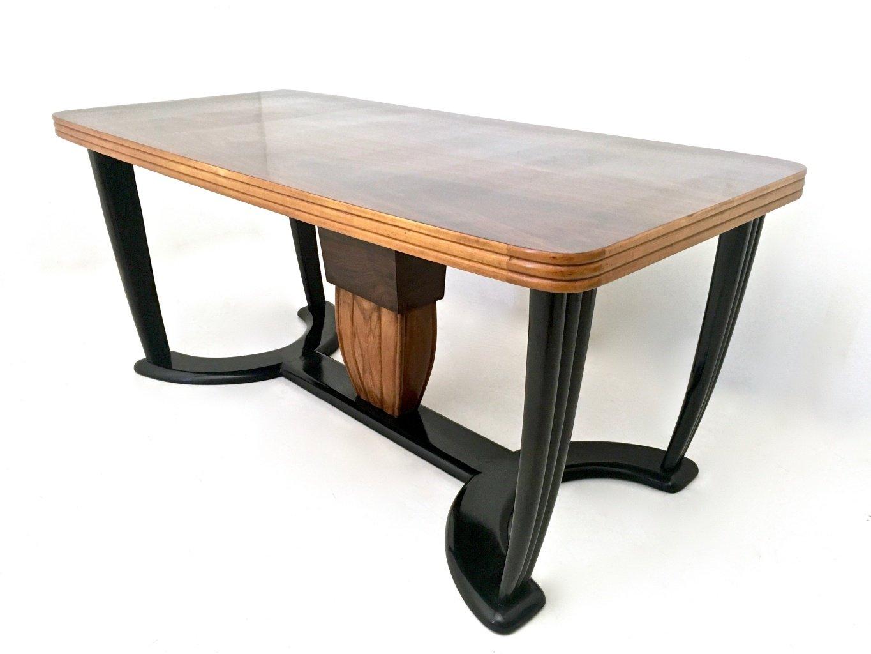 table de salle manger en acajou et bois noirci avec plateau en verre opalin noir 1940s en. Black Bedroom Furniture Sets. Home Design Ideas