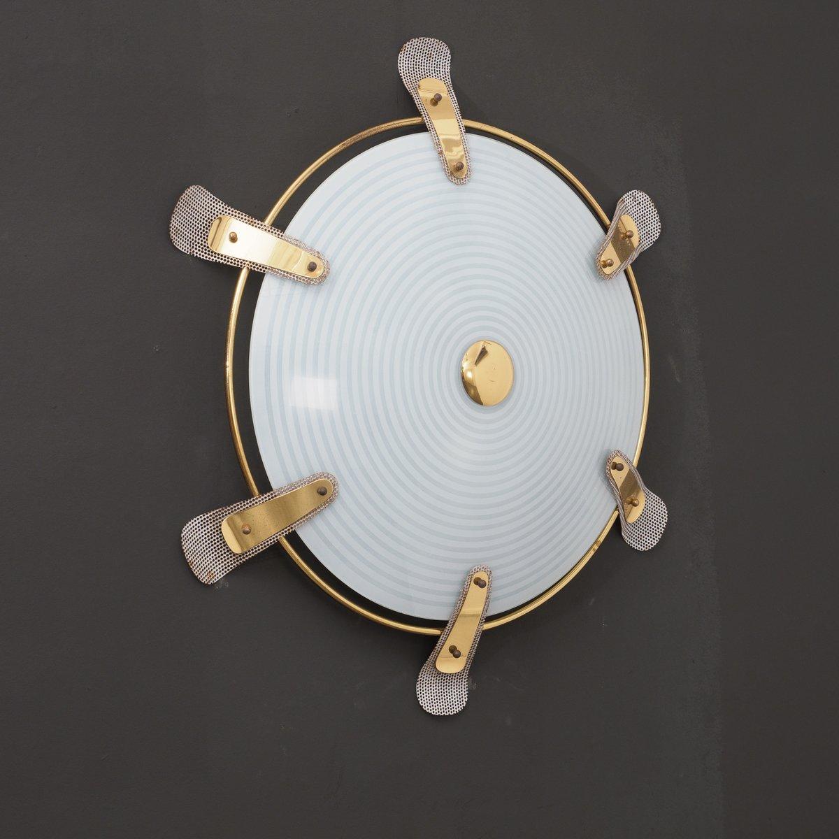 wandlampe aus milchglas messing 1950er bei pamono kaufen. Black Bedroom Furniture Sets. Home Design Ideas