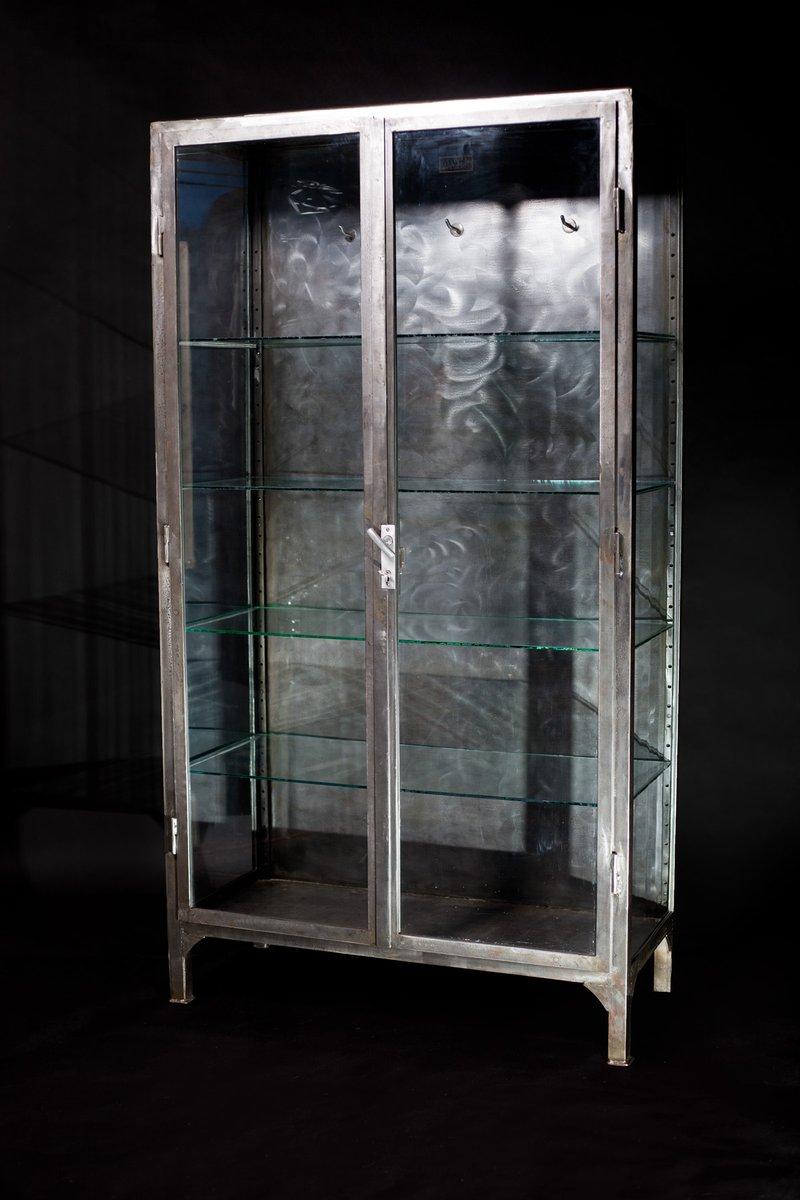 Good Vintage Polished Steel Medical Cabinet, 1920s For Sale At Pamono