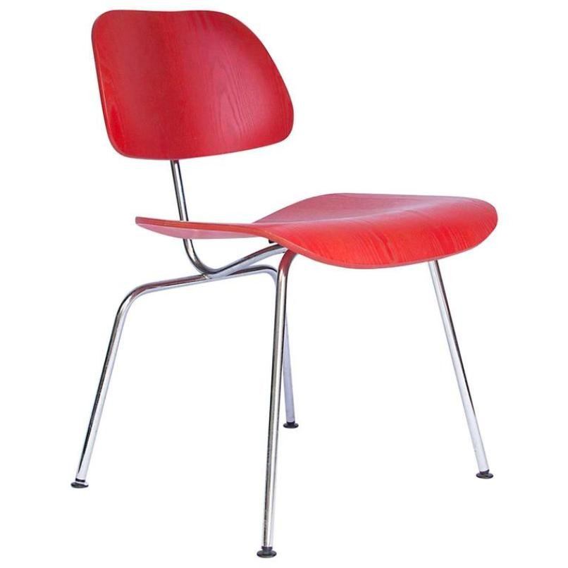 Roter vintage dcm stuhl von charles ray eames f r vitra for Eames stuhl deutschland