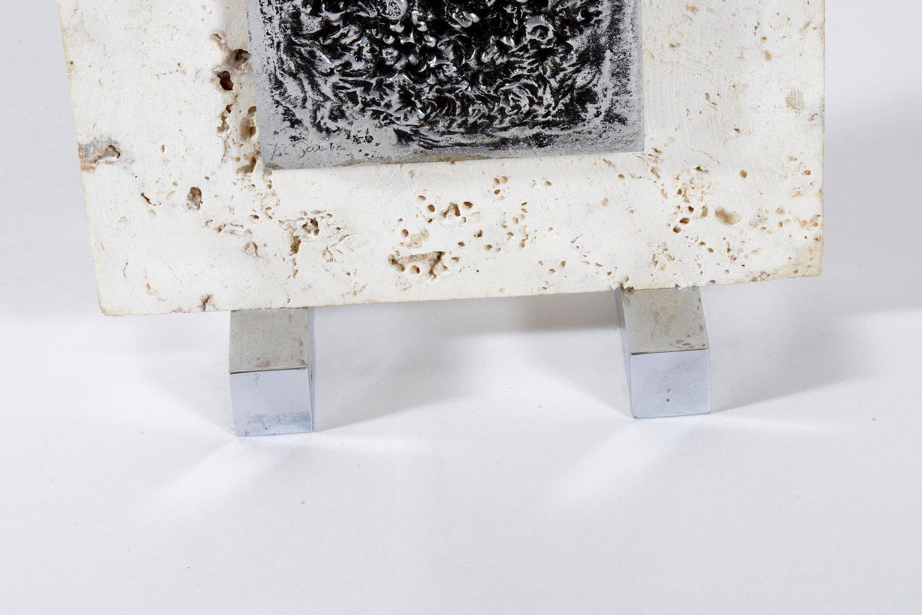 Lampade da tavolo in metallo cromato e travertino italia for Lampade piccole da tavolo