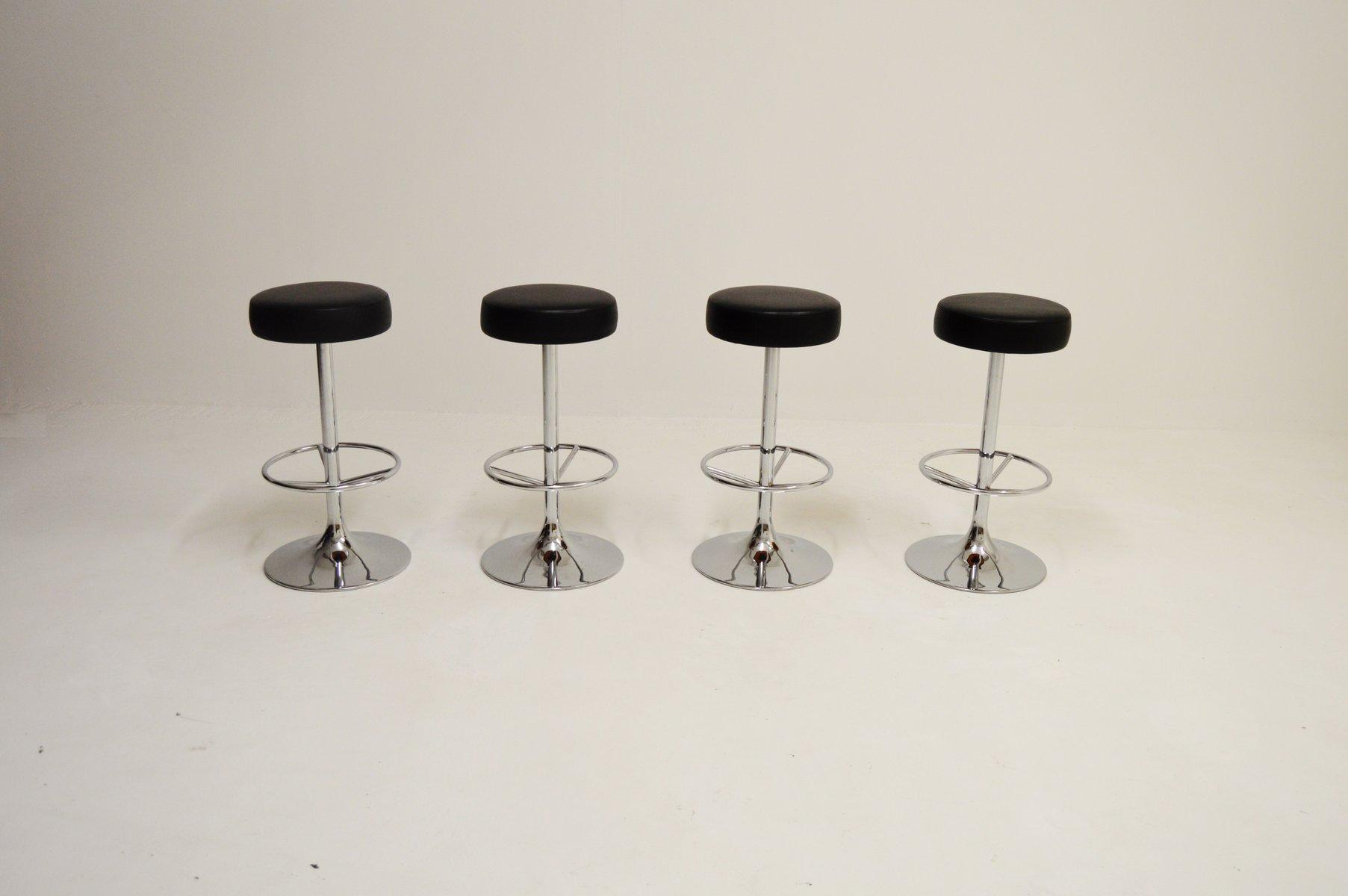 verchromte vintage barhocker von johansson design 4er set. Black Bedroom Furniture Sets. Home Design Ideas