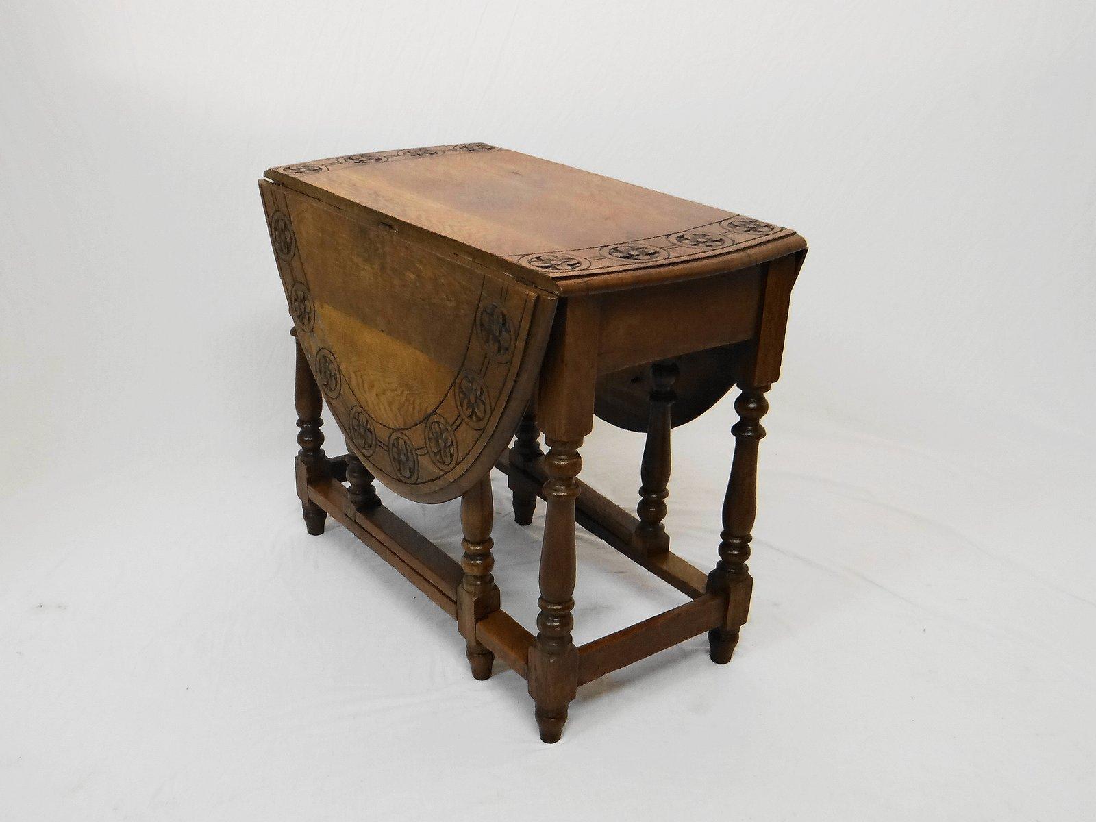 antiker gate leg tisch aus massiver eiche bei pamono kaufen. Black Bedroom Furniture Sets. Home Design Ideas