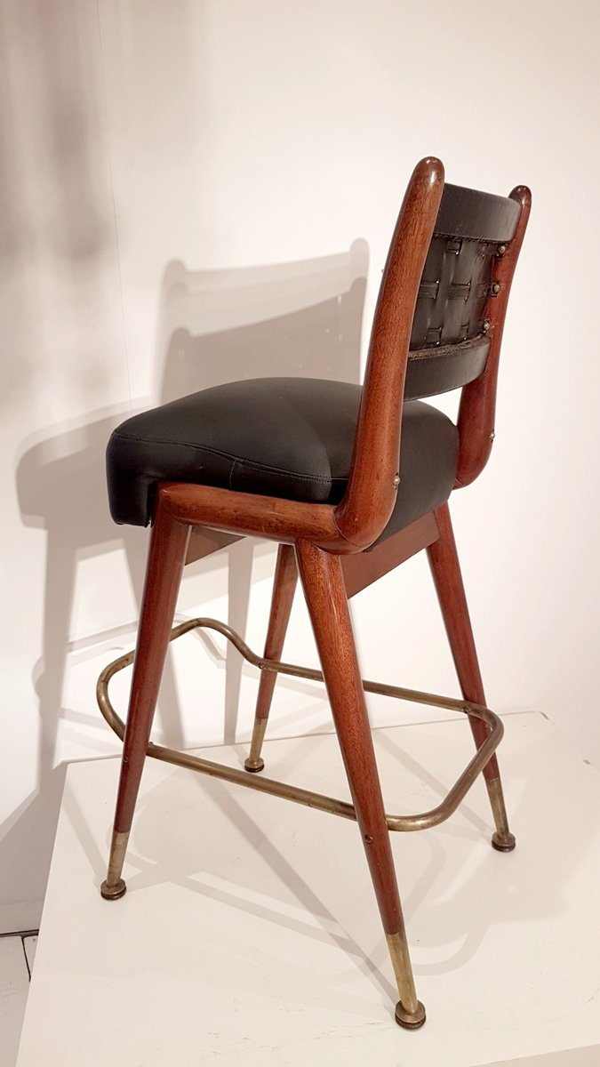 mahagoni croupier stuhl mit leder moleskin 1950er bei pamono kaufen. Black Bedroom Furniture Sets. Home Design Ideas