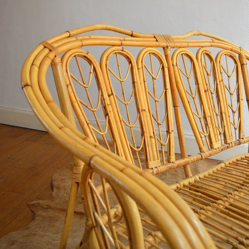 Vintage Bamboo And Rattan Bench 1960s For Sale At Pamono