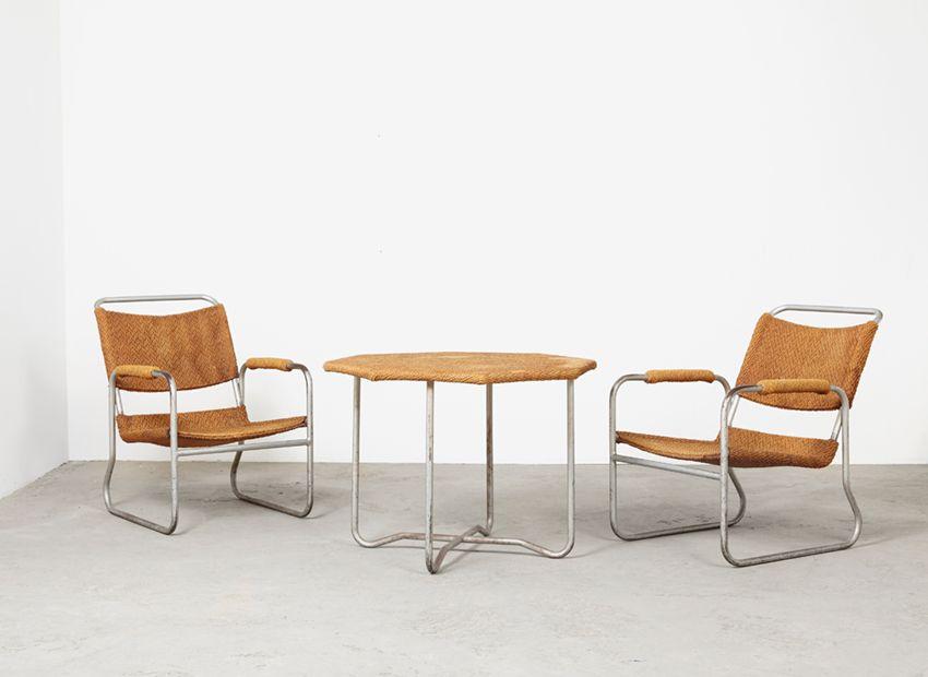 2 sessel tisch von bas van pelt f r ems 1930er bei pamono kaufen. Black Bedroom Furniture Sets. Home Design Ideas