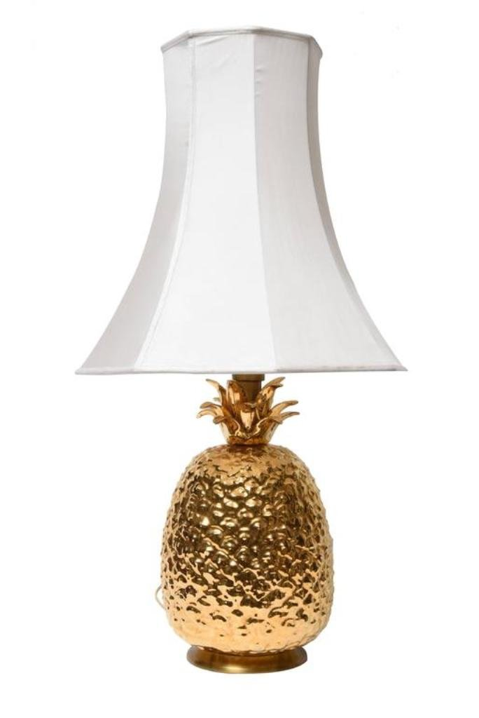 Gilded Ceramic Pineapple Table Lamp 1970s For Sale At Pamono