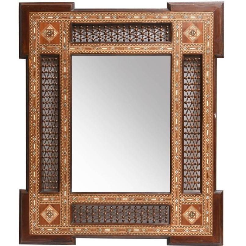 antiker spiegel mit einlegearbeit bei pamono kaufen. Black Bedroom Furniture Sets. Home Design Ideas