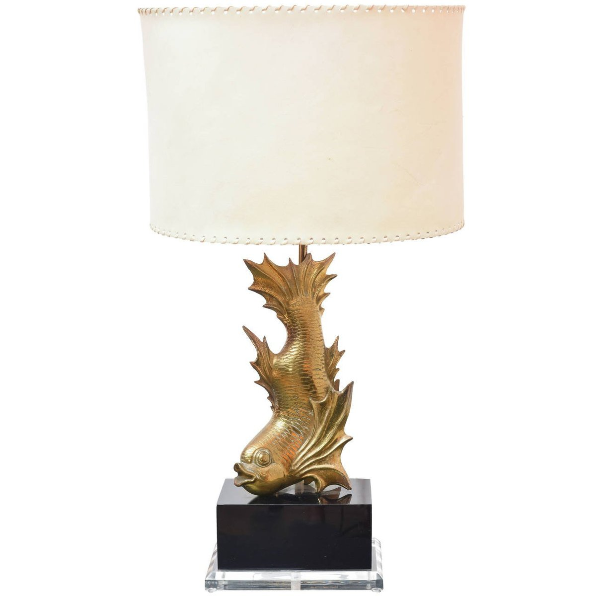 Gilt brass fish table lamp 1970s for sale at pamono gilt brass fish table lamp 1970s aloadofball Image collections