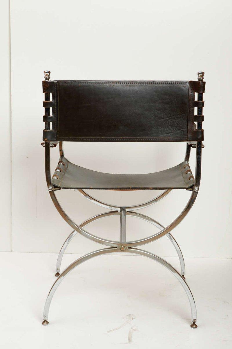 vintage sessel aus eisen leder 1970er bei pamono kaufen. Black Bedroom Furniture Sets. Home Design Ideas