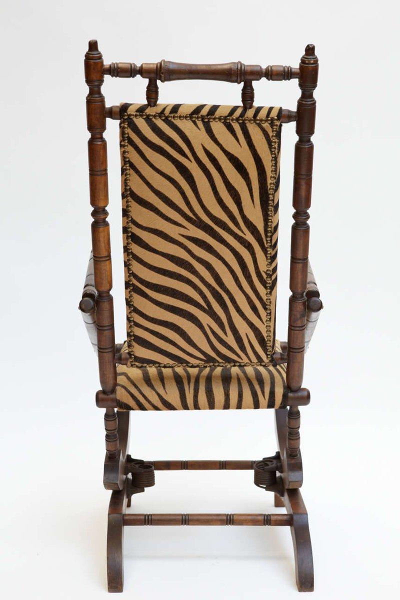 19th Century French Napoleon III Rocking Chair U0026 Footstool
