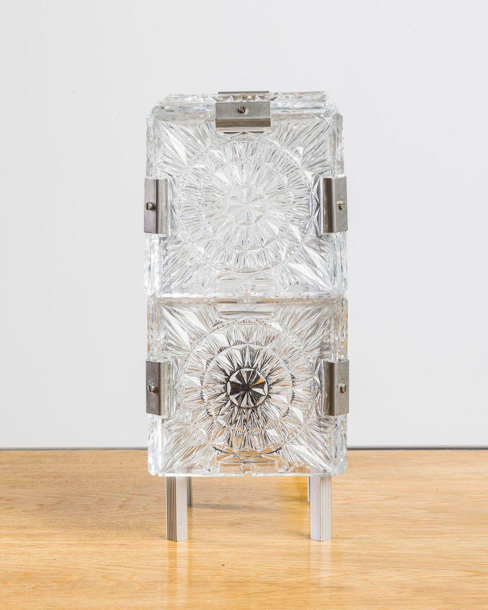 vintage lampe aus geschliffenem glas von esc 1950er bei pamono kaufen. Black Bedroom Furniture Sets. Home Design Ideas
