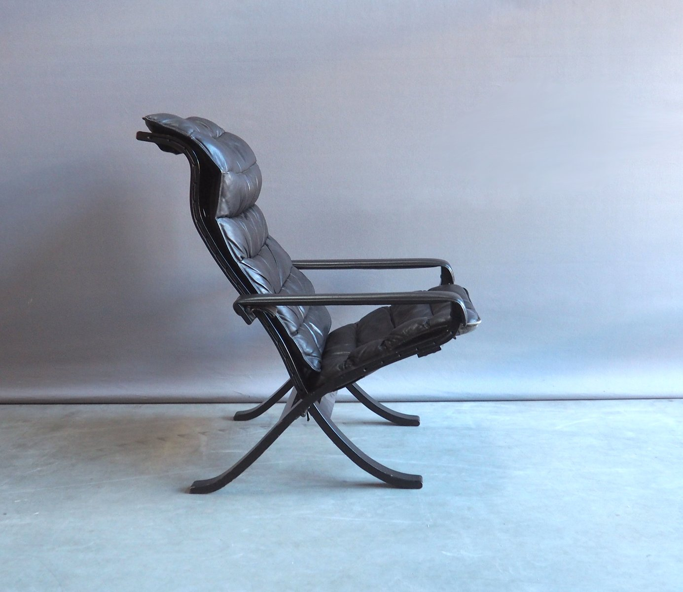 Vintage Relax Folding Easy Chair With Ottoman By Ingmar