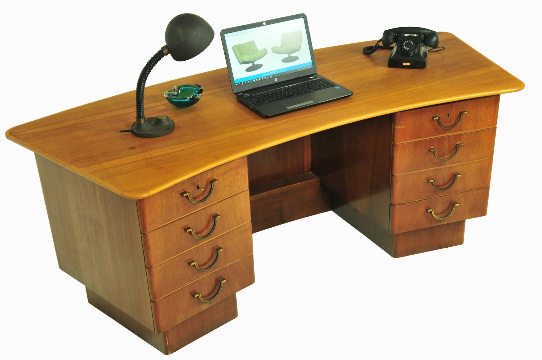 geschwungener vintage schreibtisch bei pamono kaufen. Black Bedroom Furniture Sets. Home Design Ideas