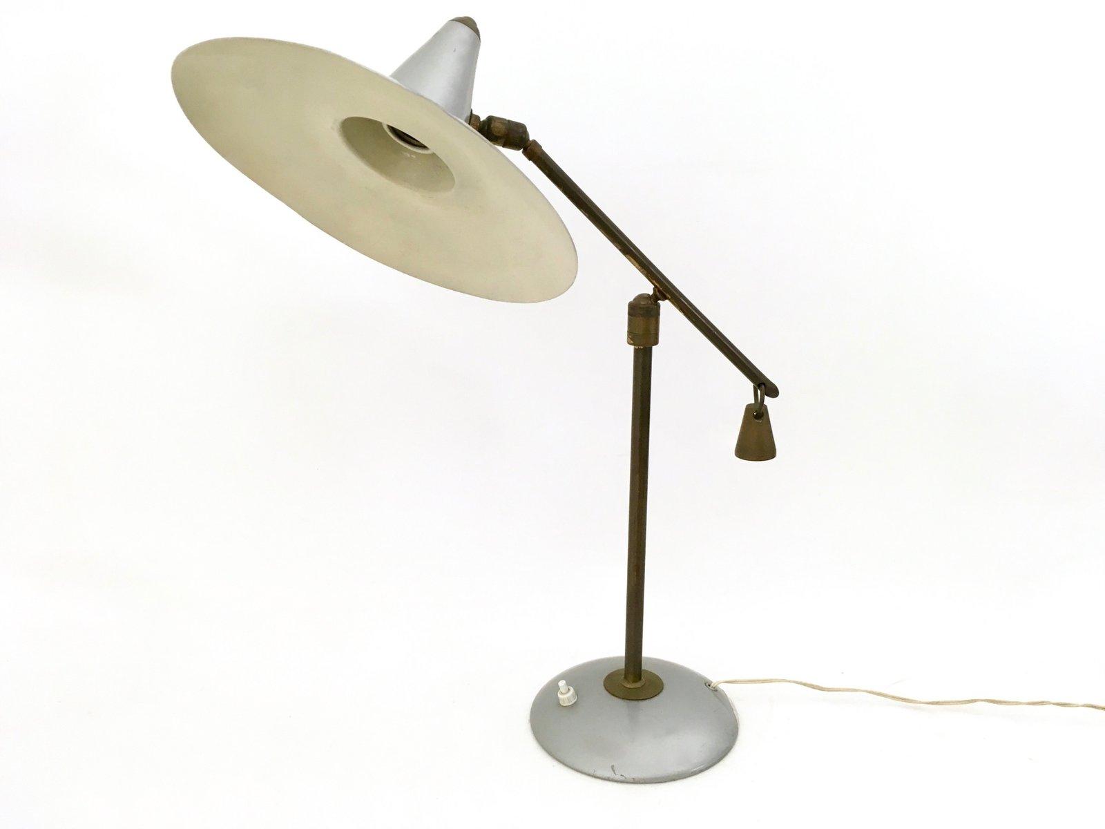 Lampe de bureau en laiton et métal verni s en vente sur pamono