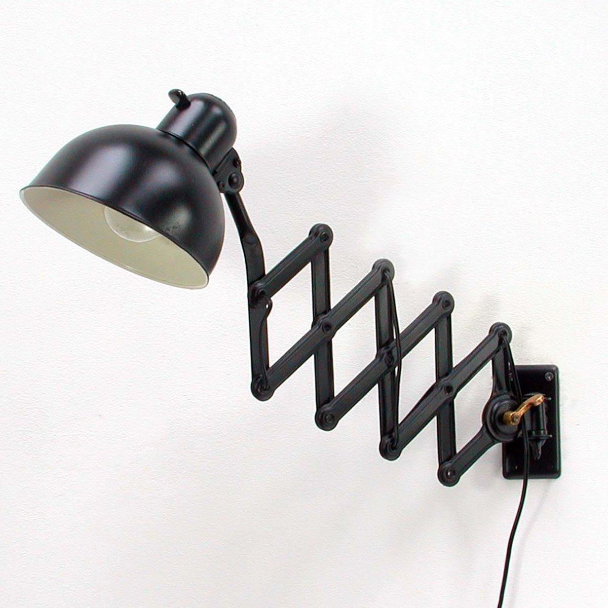 schwarze 6718 scherenlampe von christian dell f r kaiser idell 1930er bei pamono kaufen. Black Bedroom Furniture Sets. Home Design Ideas