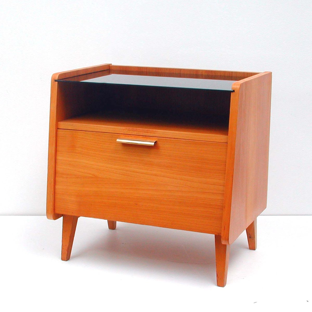 mid century teak glas kommode 1960er bei pamono kaufen. Black Bedroom Furniture Sets. Home Design Ideas