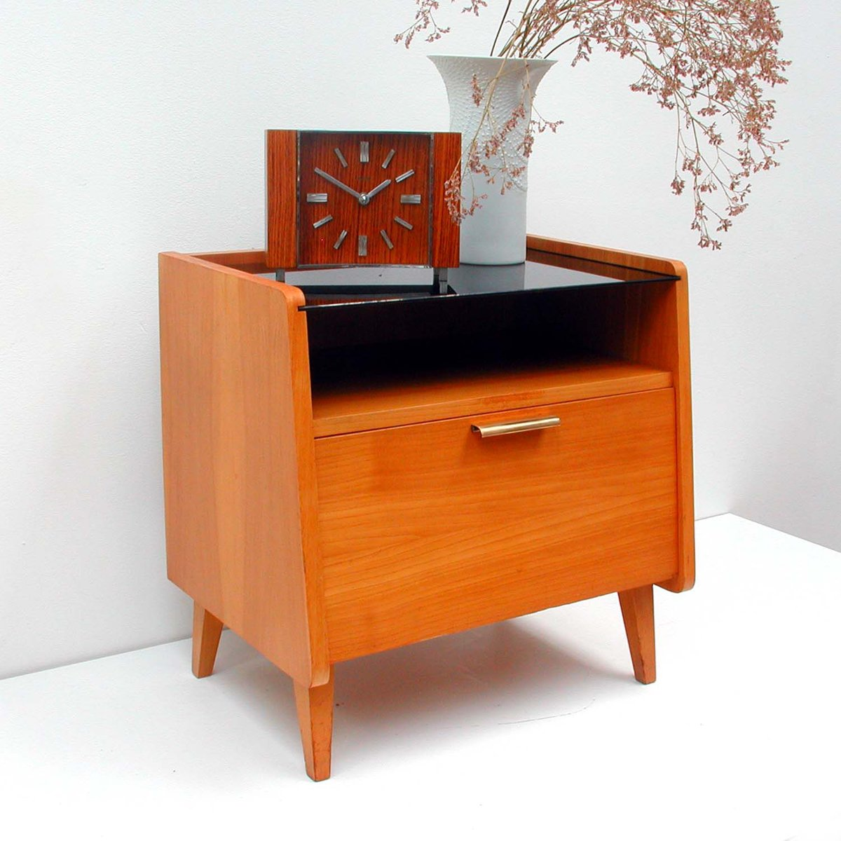 mid century teak glass commode 1960s for sale at pamono. Black Bedroom Furniture Sets. Home Design Ideas