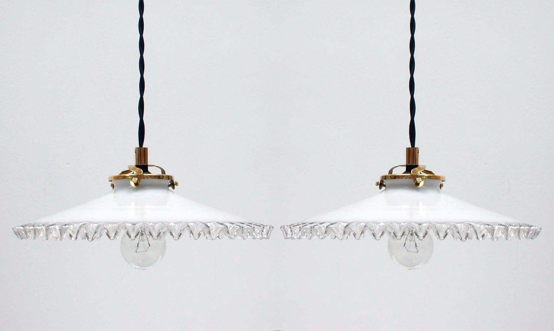 Vintage french opaline glass pendant lamps 1950s set of 2 for sale vintage french opaline glass pendant lamps 1950s set of 2 aloadofball Gallery