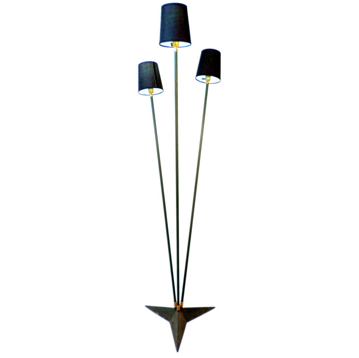stehlampe mit drei leuchten 1950er bei pamono kaufen. Black Bedroom Furniture Sets. Home Design Ideas