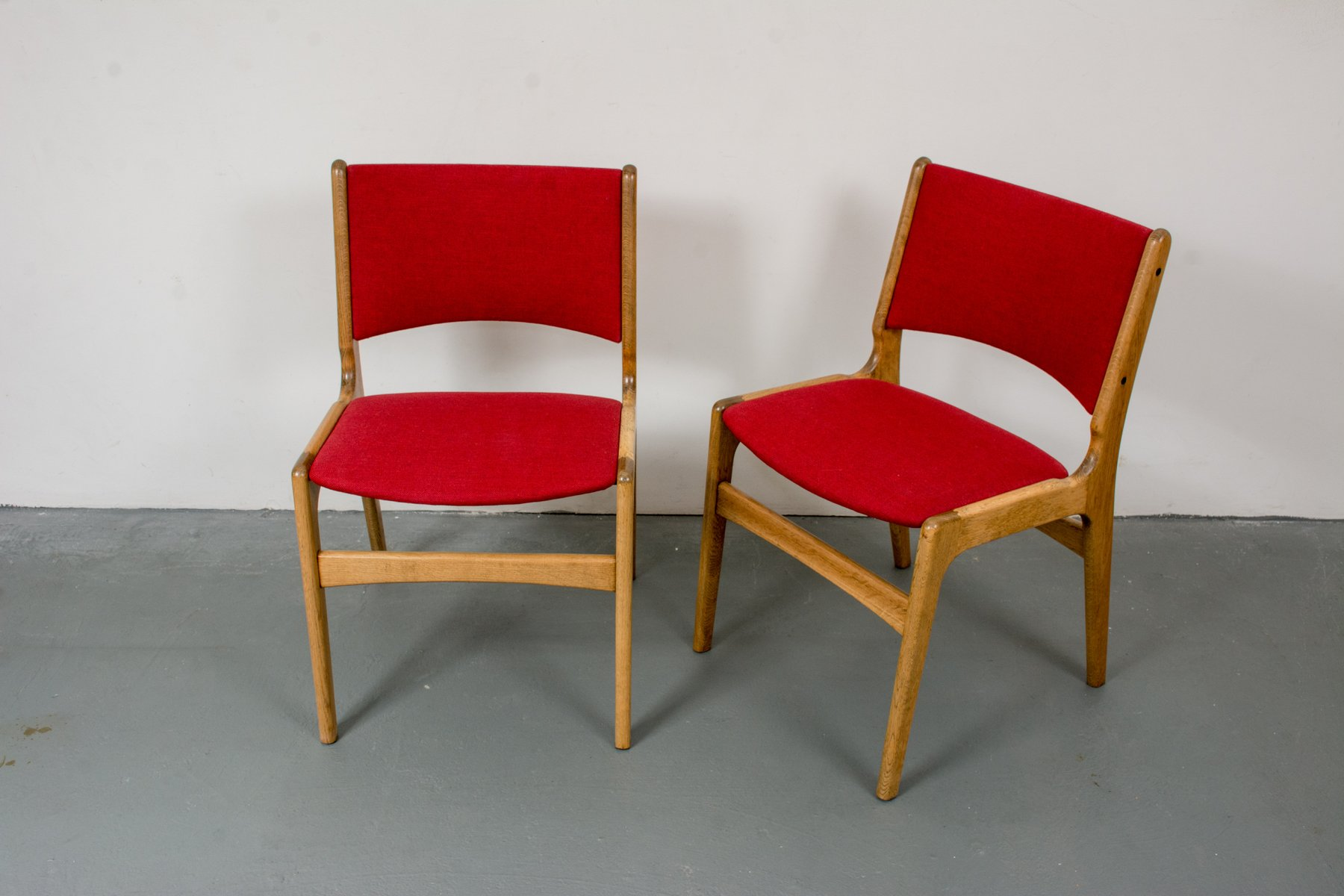 Dining Chairs in Solid Oak by Erik Buch for Oddense 1950s Set of