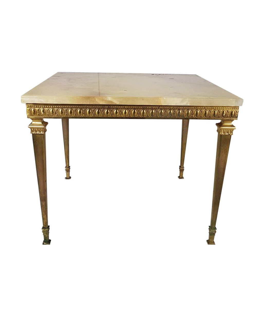 Marble Coffee Table For Sale Singapore: French Brass Coffee Table With Marble Top, 1930s For Sale