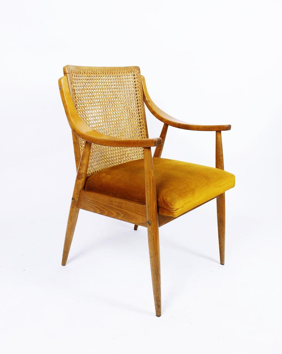 mid century sessel mit r ckenlehne aus schilfrohr bei pamono kaufen. Black Bedroom Furniture Sets. Home Design Ideas