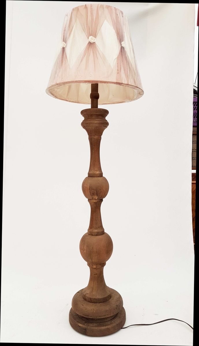 German Solid Oak Floor Lamp, 1950s for sale at Pamono