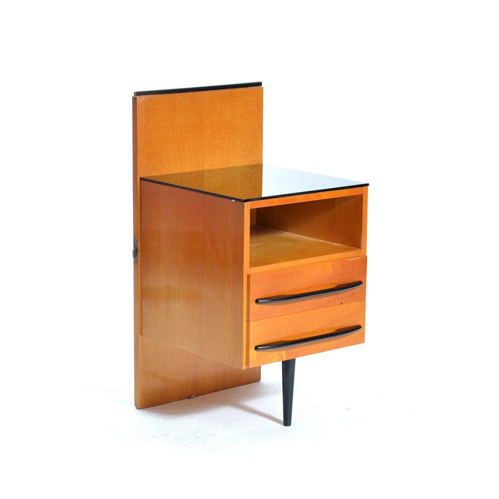 tschechoslowakische vintage nachttische aus furniertem. Black Bedroom Furniture Sets. Home Design Ideas